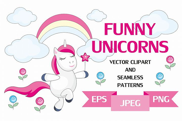 Funny unicorns. Vector clipart and seamless patterns.