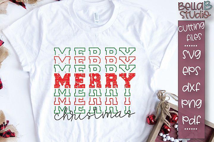 Christmas SVG, Mirrored, Merry Christmas SVG, Grunge