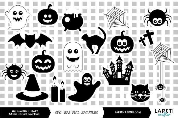 Halloween silhouette, halloween black clipart, digital stick