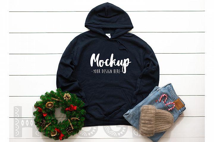 Gildan 18500 Mockup Christmas Navy Hoodie Mockup Winter Mock