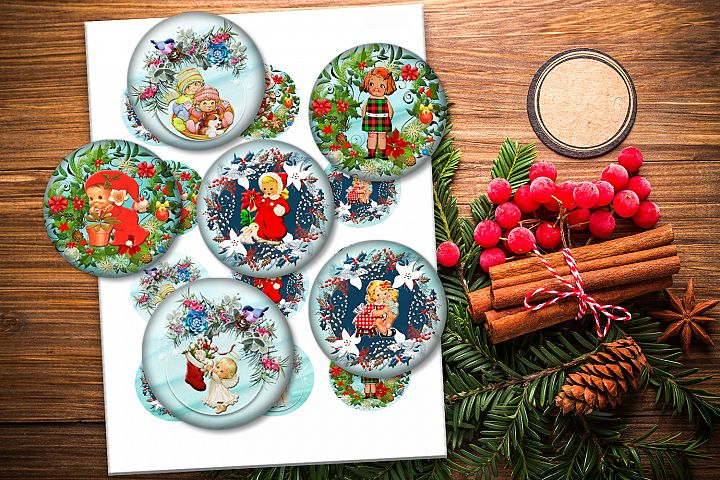 Christmas Vintage, Circle 2, 1.5, 1, 30mm, 25mm, Sheets