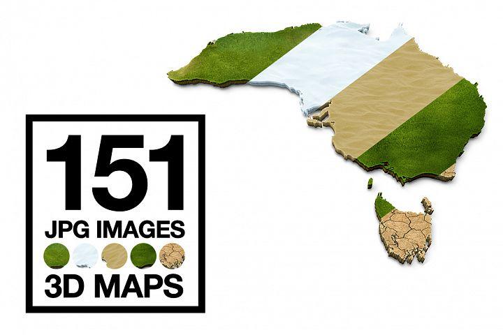 3D Maps Images Dry Earth Snow Grass Terrain JPG Bundled