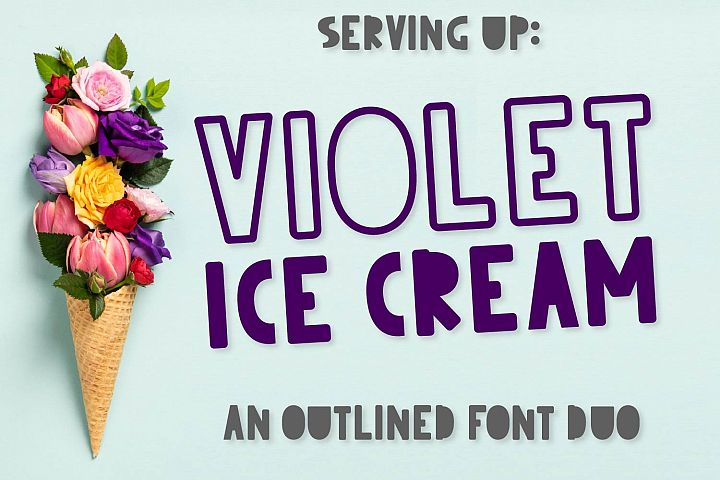 CLN - Violet Ice Cream - Outlined Font Duo - Cut Friendly