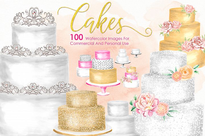 100 CAKES Watercolor Cakes Bundle Pastry Cooking Kitchen