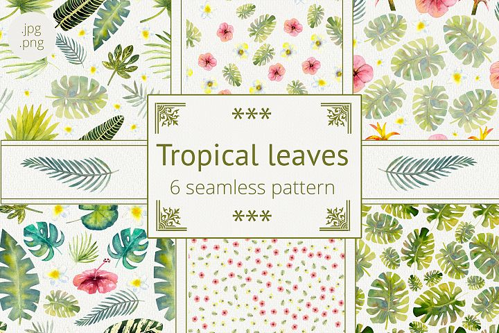 Seamless pattern with tropical leaves. Watercolor.