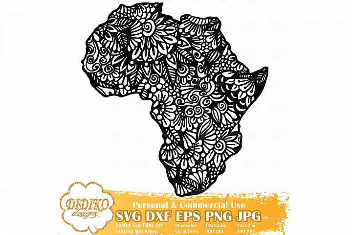Zentangle Africa | Mandala Africa SVG | Black History Month