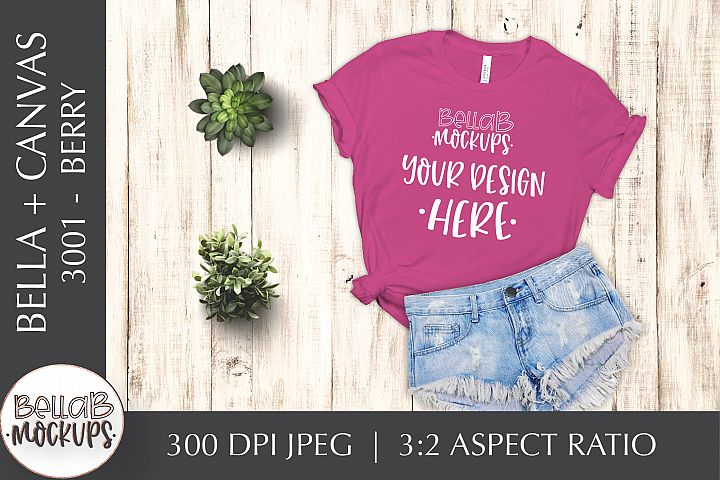 Bella Canvas 3001 Womans T Shirt Mockup, Berry, Pink