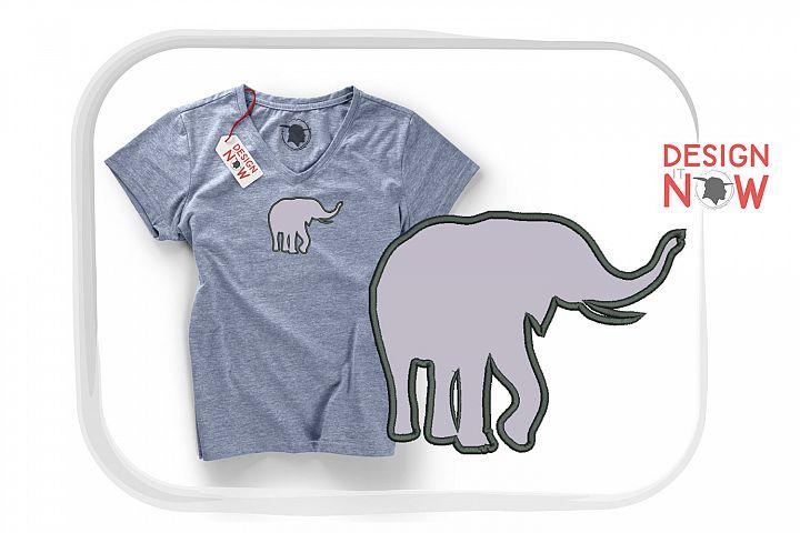 Elephant Applique Design, Animals Embroidery Design