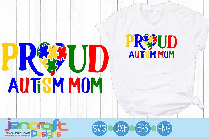 Proud Autism Mom Awareness Puzzle SVG
