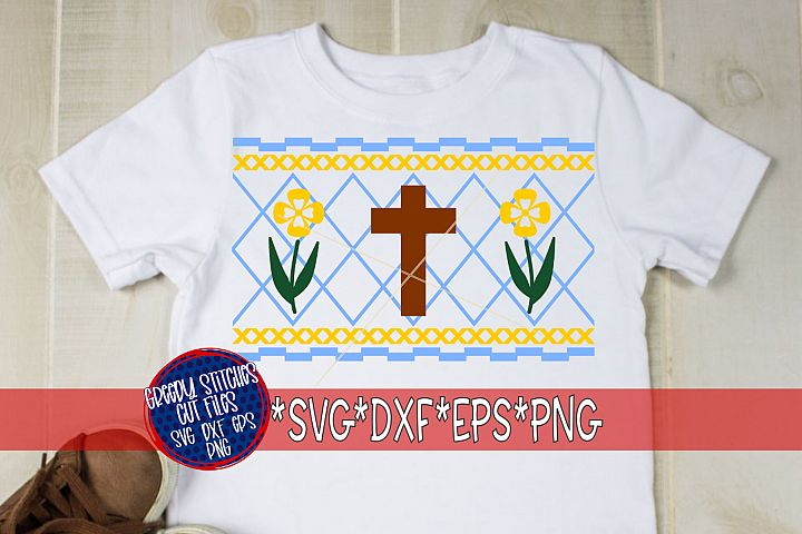 Easter | Faux Smocked Cross and Flowers SVG, DXF, EPS, PNG.