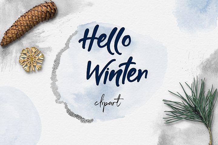 Watercolor & Silver Winter Clipart, Frozen Clipart