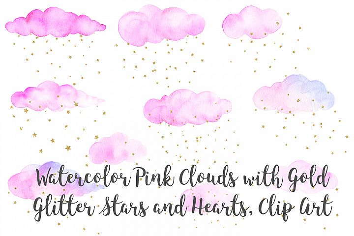 Watercolor Pink Clouds with Gold Stars and Hearts Clip Art