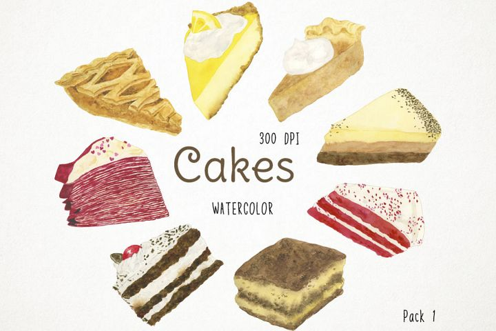 Watercolor Cakes Clipart, Cakes Clip Art, Bakery Clipart