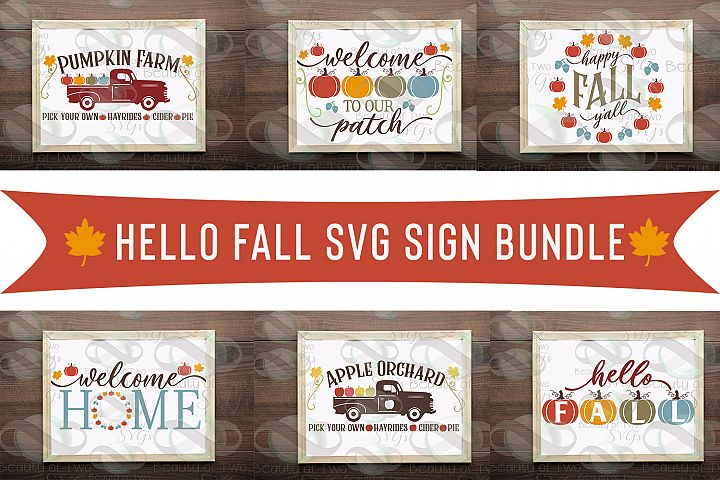 Hello Fall Farmhouse svg Sign Bundle, 6 Fall svg designs