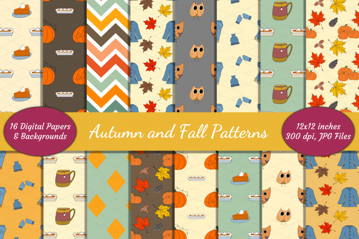 Autumn Fall Patterns Harvest Digital Papers Bundle Pumpkins