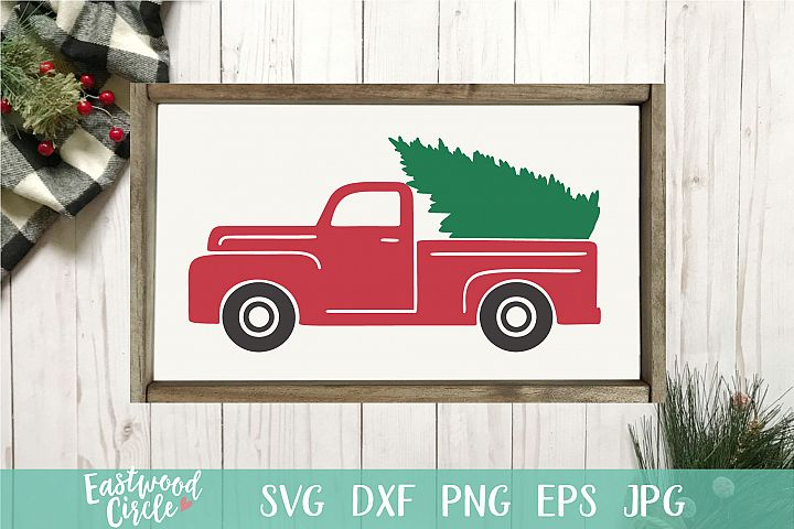 Red Truck with Christmas Tree - Christmas SVG File for Signs