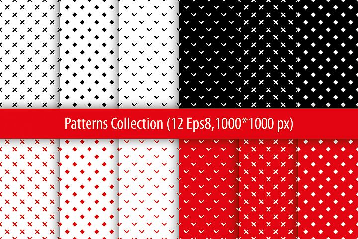 Set of 12 seamless vector backgrounds with abstract geometric pattern.