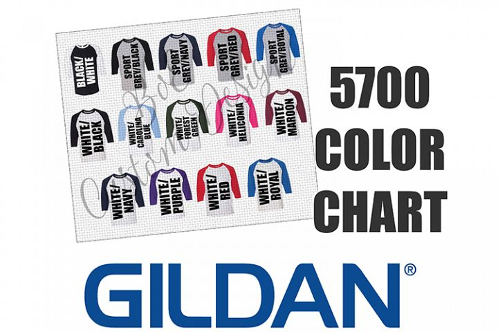 Gildan 5700 Raglan Baseball Shirt Color Chart