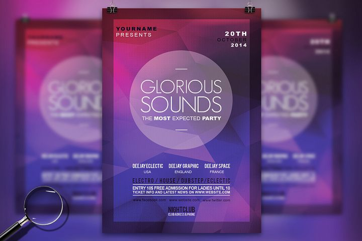 Glorious Sounds | 3in1 Modern Flyer Template