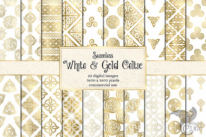 White and Gold Celtic Digital Paper