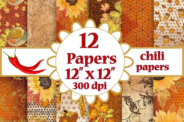 Fall digital papers, Sunflower paper pack, Autumn paper pack