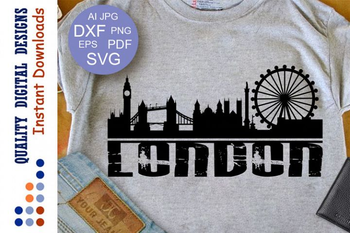 London Skyline Svg Grunge svg Cityscape Svg London Skyline