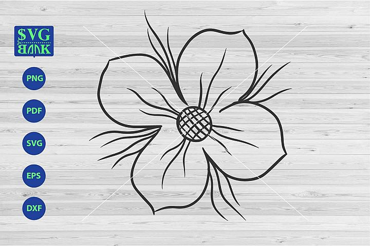 Big monoline Flower Svg, single flower cut file, big flower