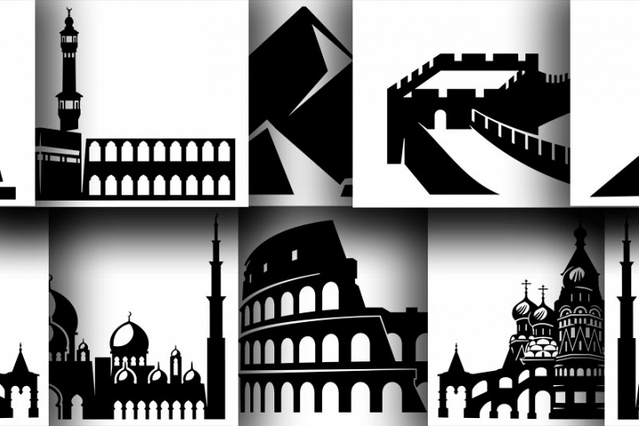 6 Architectural monuments in silhouettes for cut or print