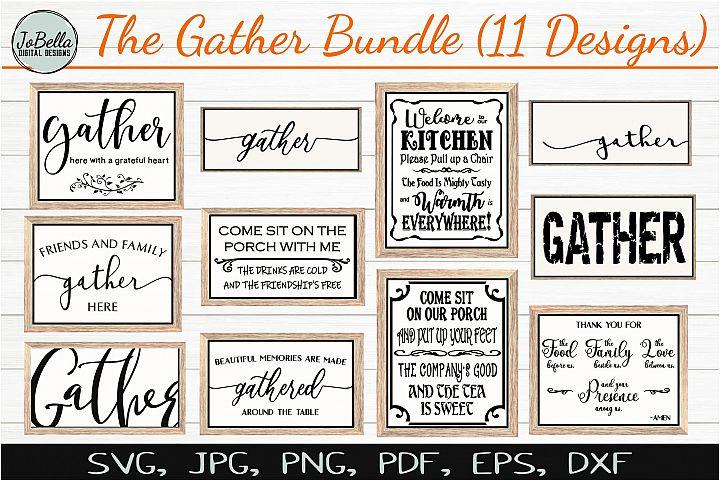 Farmhouse Gather SVG Bundle, Sublimation PNGs & Printables