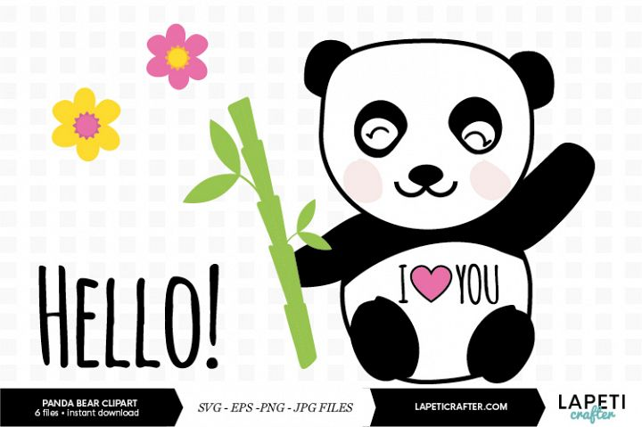 Bamboo panda clipart vector illustration