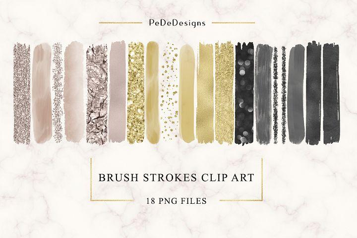 Brush Strokes Clip Art (cappuccino, gold, black)