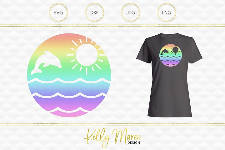 Dolphin & Sunshine SVG