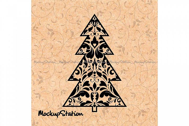 Christmas Tree Mandala SVG Zentangle Boho Winter Decor Png