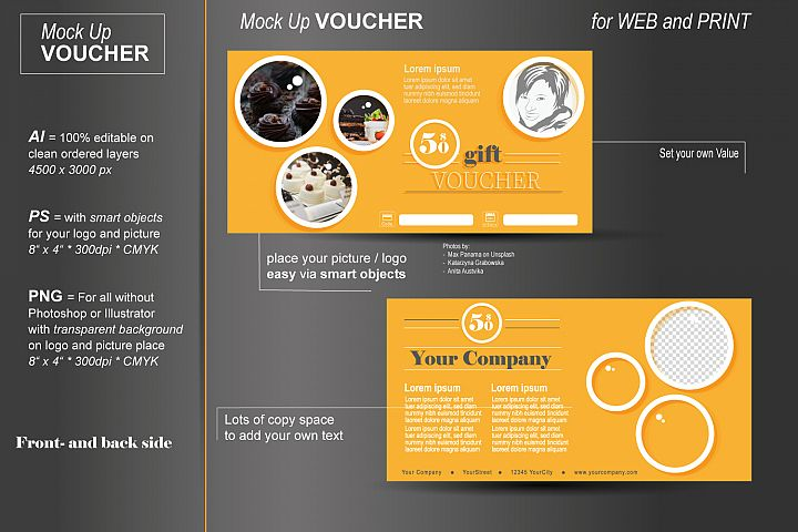 Mockup - Gift Voucher - Yellow Bubbles