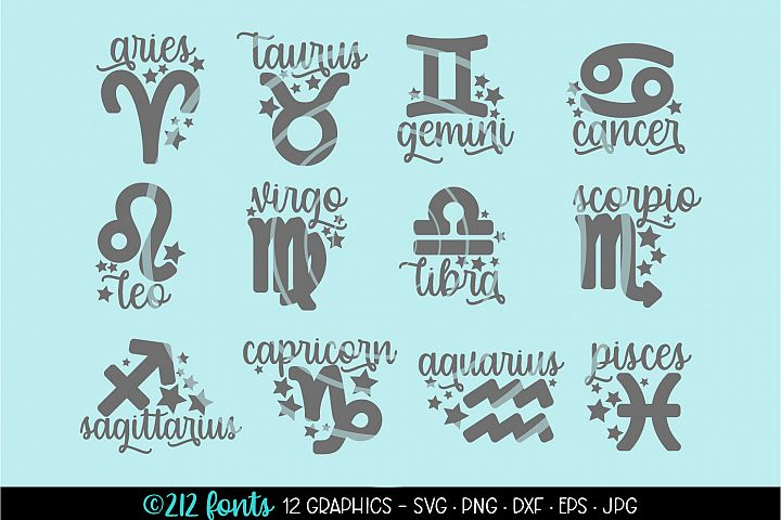 12 - Zodiac Star Signs Graphic Cut File DXF PNG JPG SVG EPS