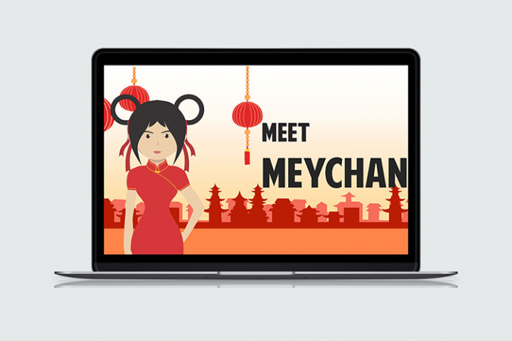 Asian Girl Cartoon PowerPoint Template