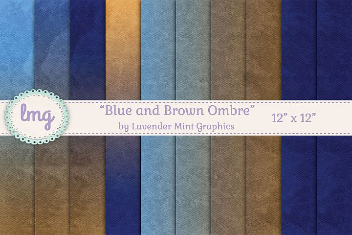 Blue and Brown Ombre Gradient Digital Scrapbooking Papers