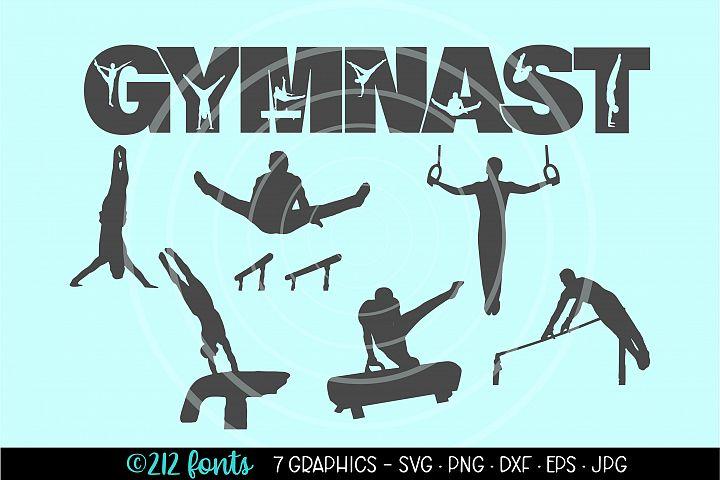 Mens Gymnastics Graphic Clip Art Cut Files DXF PNG JPG SVG