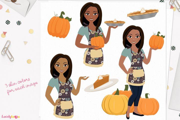 Pumpkin pie woman character clip art (L326 Mindy)