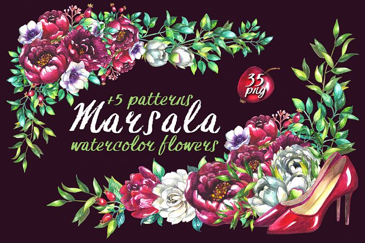 Marsala wedding clipart