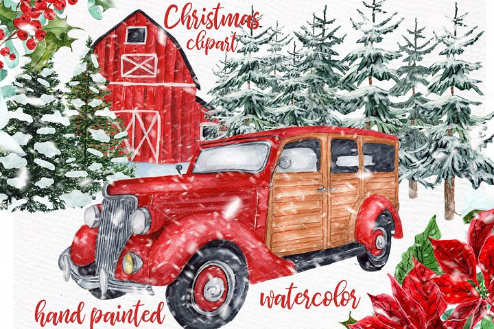 Watercolor Christmas Vintage Car clipart,Christmas retro Car