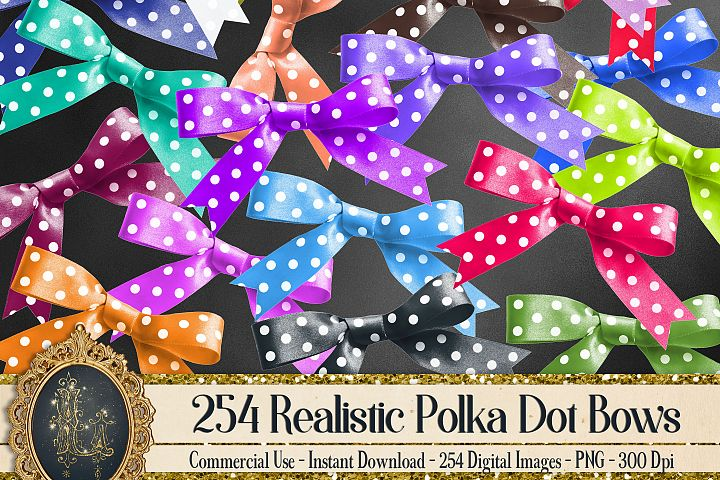 254 Realistic Polka Dot Bows Card Making Digital Images