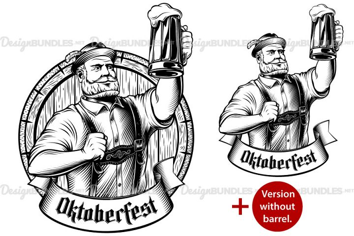 Vector Oktoberfest Man Bavarian Beer Glass Barrel Lager Foam Engraving