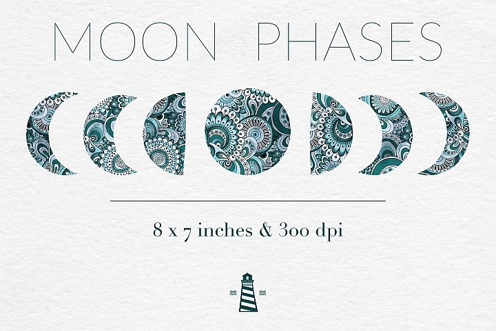 Waning Moon Clipart, Lunar Graphics