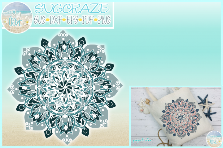 Three Color Multi-color Mandala Zentangle SVG Dxf Eps Png PD
