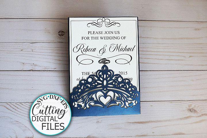 Princess crown pocket wedding invitation laser cut template