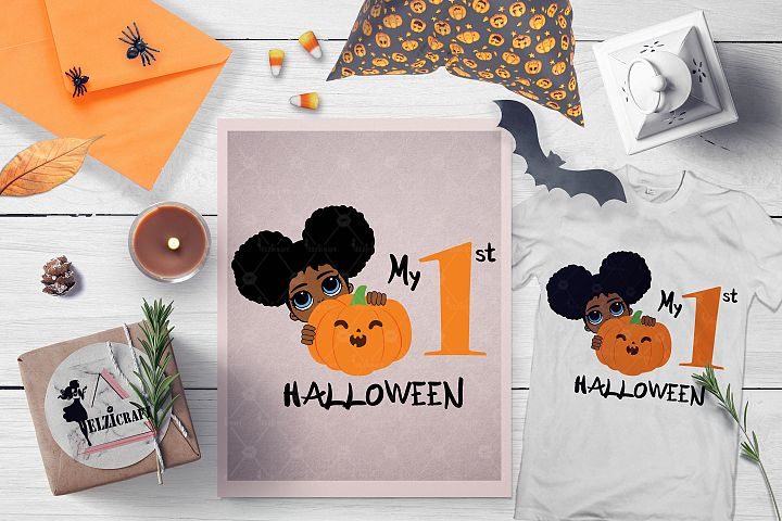 My 1st Halloween Afro Peeking Girl Pumpkin Smile SVG File