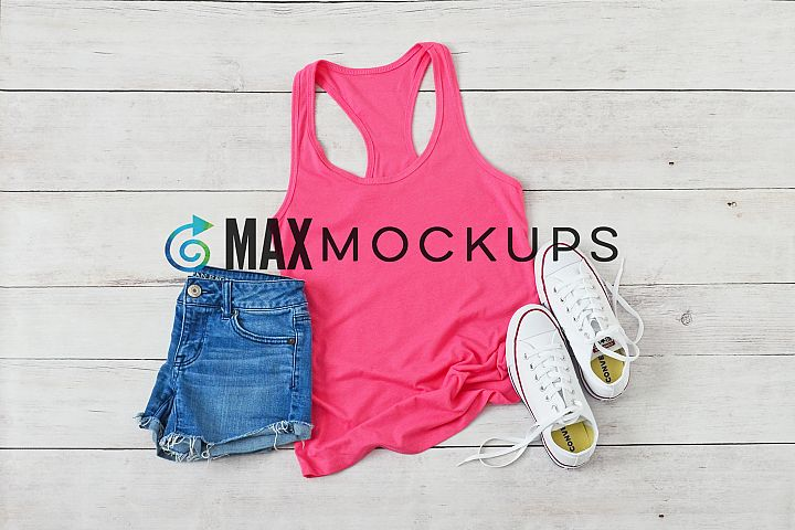 Pink Racerback Tank top Mockup, styled photo, summer flatlay