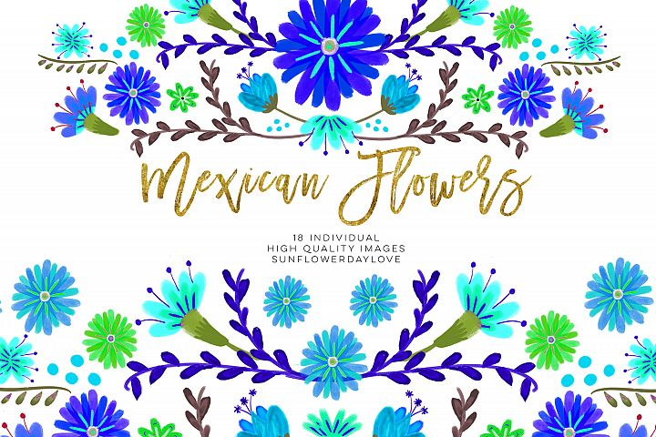 Blue Mexican Watercolor Floral clipart