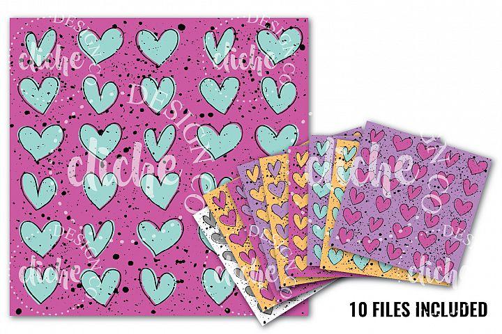 Speckled Heart Doodle Digital Paper Bundle